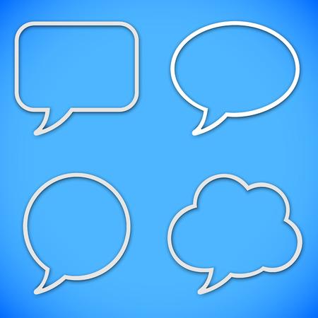 blue bubbles: Set of 4 thin line speech bubbles on blue background Illustration