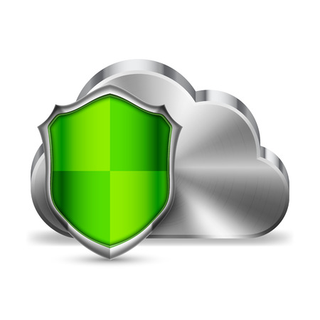 lock symbol: Computer cloud technology icon and green shield Illustration