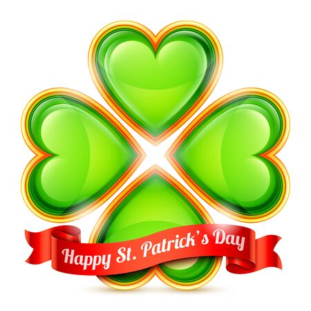 red clover: Four leaf clover made of green hearts and red ribbon with Happy St. Patrick Day congratulation Illustration