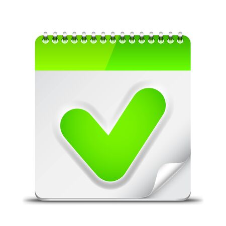check symbol: Calendar icon with green check mark symbol