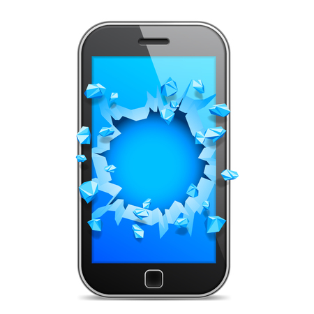 mobile phone screen: Black mobile phone with broken blue screen