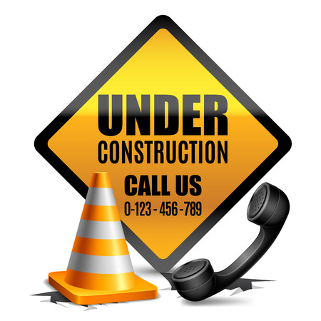 phone handset: Under construction sign with road cone and phone handset