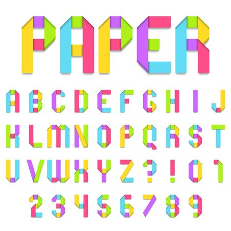 folded: Folded color paper font. Full alphabet and numbers. Illustration