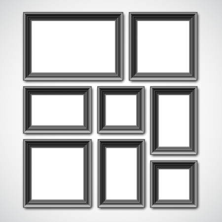art museum: Collafe of black picture frames or borders for photo or painting