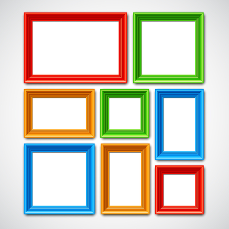 art museum: Collafe of color picture frames or borders for photo or painting