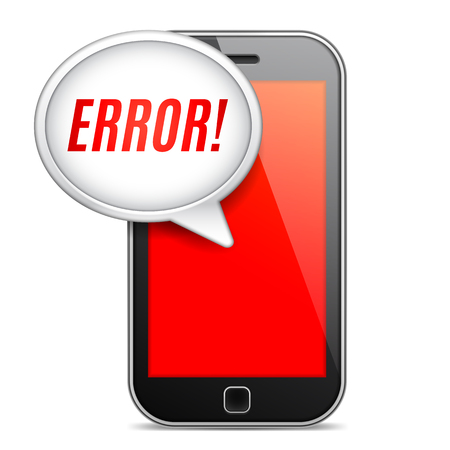 error message: Mobile phone displaying error message on red screen