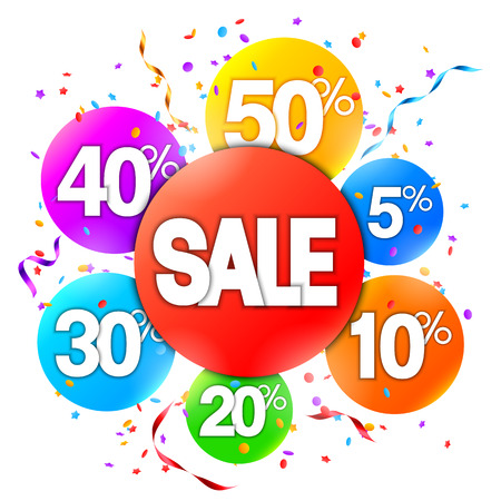 Colorful sale event advertisment on white background