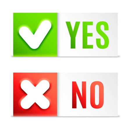 yes no: Yes and No buttons with check symbols