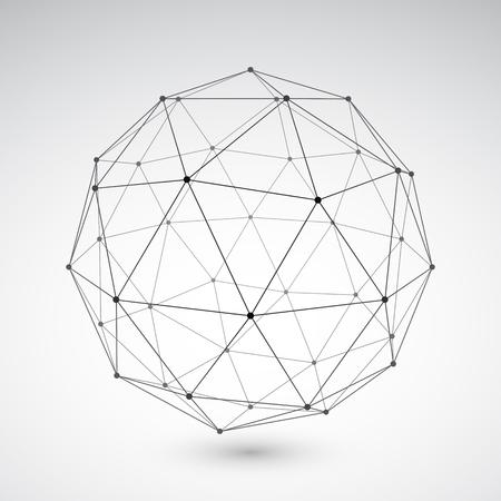 geosphere: Three-dimensional polygonal sphere on light grey background