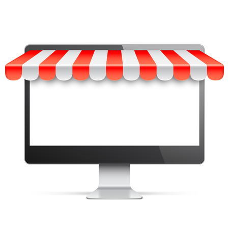 Computer monitor with blank white screen and red awning. Internet online shopping and e-commerce concept. Vector illustration