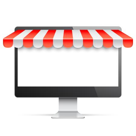 monitor de ordenador con pantalla en blanco y toldos de color rojo. Internet de compras en línea y el comercio electrónico concepto. ilustración vectorial Ilustración de vector