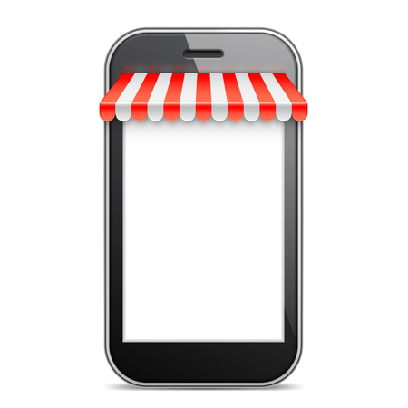 internet phone: Mobile Phone with blank white screen and red awning. Internet online shopping and e-commerce concept. Vector illustration Illustration