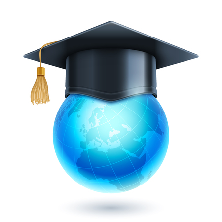 top of the world: Graduation cap or mortar board on top of world globe. Vector education icon