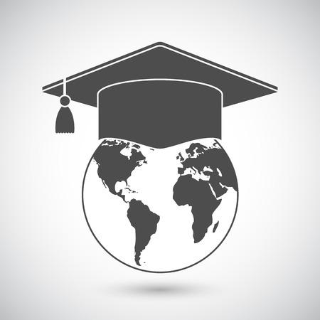 graduación de la tapa o junta de mortero en la parte superior del globo terráqueo. Vector icono de la educación