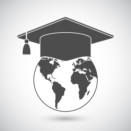 international students: Graduation cap or mortar board on top of world globe. Vector education icon
