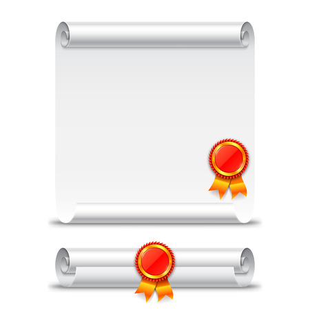 rolled paper: Rolled and unrolled diploma paper scroll with stamp. Vector education icon isolated on white background Illustration