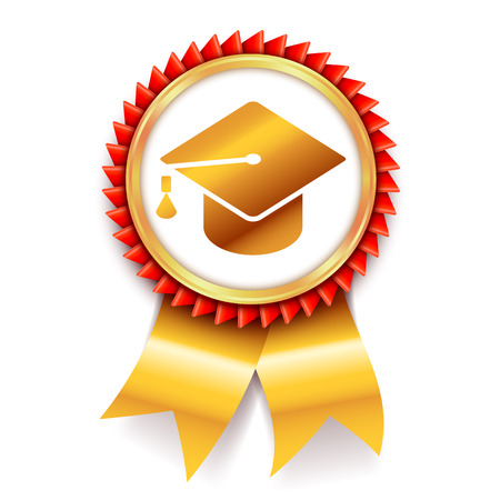 Education award medal with graduation cap or mortar board symbol. Vector icon isolated on white background