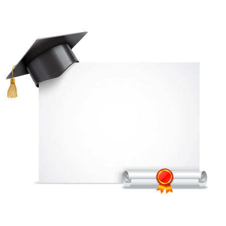 successful student: Graduation cap or mortar board and rolled diploma scroll with stamp. Vector education icon isolated on white background Illustration