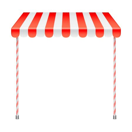 an awning: Sale stand with red awning. Product presentation template. Vector illustration Illustration
