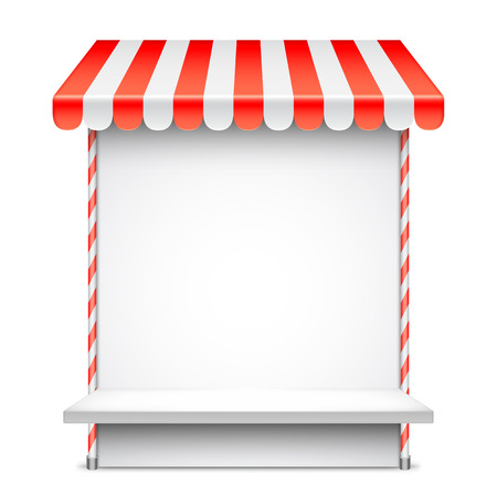 Sale stand with red awning. Product presentation template. Vector illustration Illustration