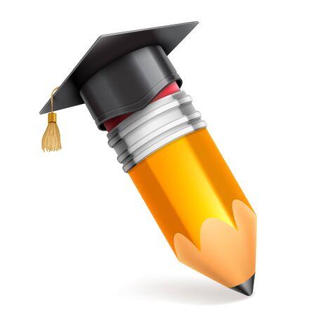 Lápiz y graduación tapa o tablero de mortero. Icono de educación Vector