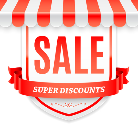 advertisment: Sale advertisment with striped store awning and red ribbon. Vector illustration Illustration