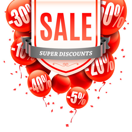 advertisment: Sale advertisment and red balloons with different discount values. Vector illustration Illustration