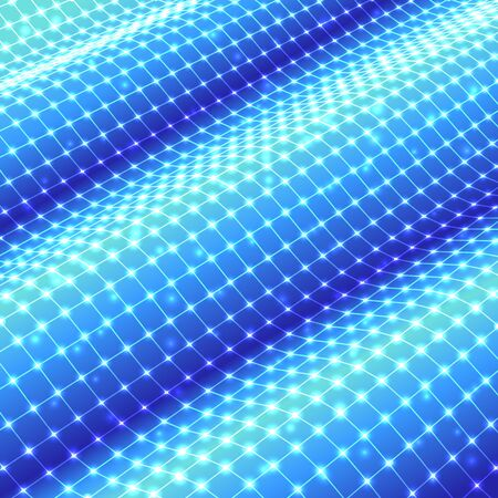 Three-dimensional polygonal mesh grid on waved surface. Vector background