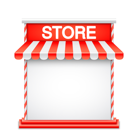 advertisment: Store front with red awning. Advertisment or product presentation template