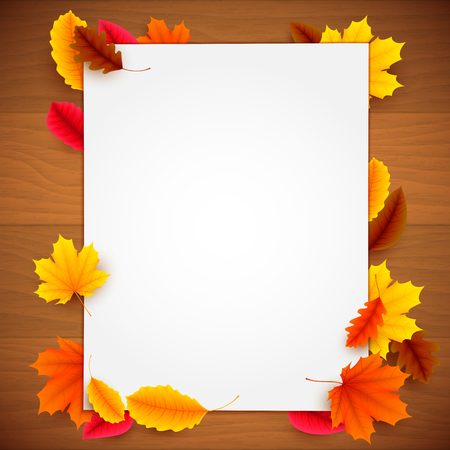 advertisment: Blank white paper list and colorful autumn leaves on old wood background. Greeting or advertisment template Illustration