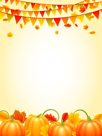 Autumn season background with colorful leaves, orange pumpkins and carnival paper garlands Illustration