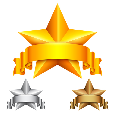 golden ribbons: Golden, silver and bronze star award icons with ribbons