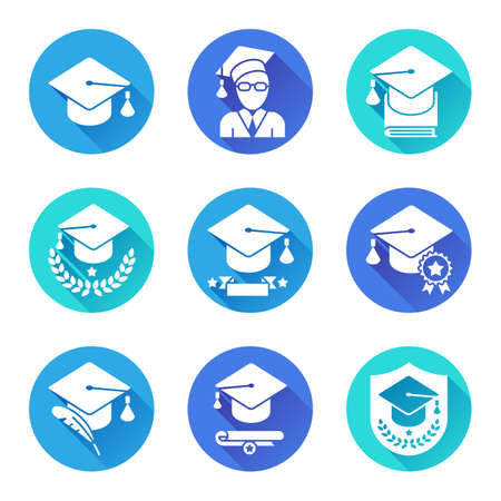blue icon: Education and school icons. Set of 9 round flat icons with long shadows