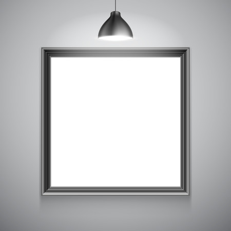 white picture frame: Blank white picture frame inside gallery interior. Poster mock-up template