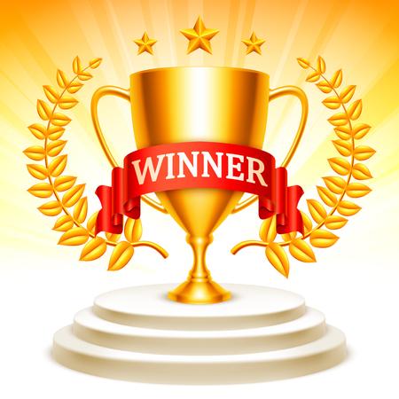 Gouden trofeekop met lauwerkrans, sterren en lint die zich op winnaarpodium bevinden Stock Illustratie