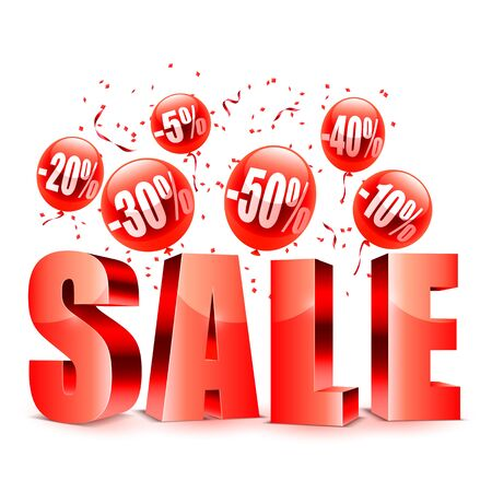 advertisment: Sale advertisment and red balloons with different discount values