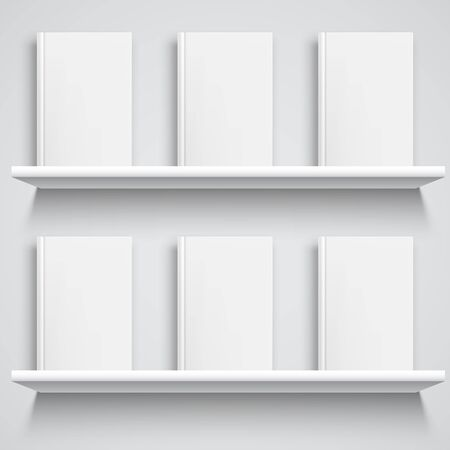 two object: Two white bookshelves and books with empty blank covers. White object mock-up or template