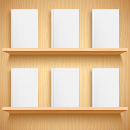 Two wooden bookshelves and books with empty blank covers. White object mock-up or template Иллюстрация