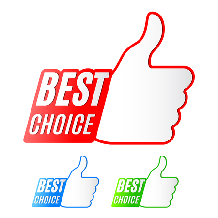 Three best choice labels with thumb up symbol