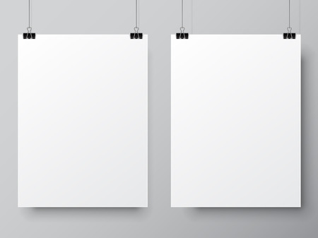 Two blank white paper lists hanging on pins. Poster mock-up template