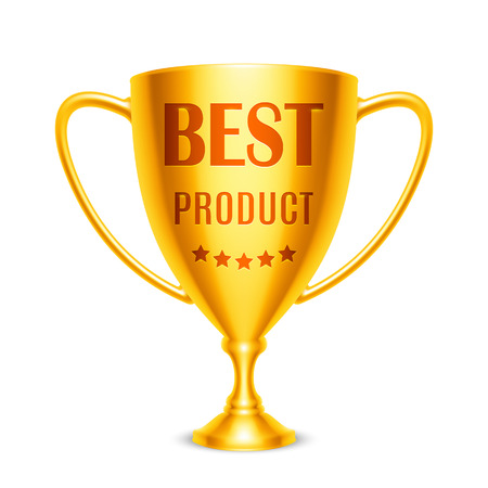 five stars: Golden trophy cup with Best Product message and five stars
