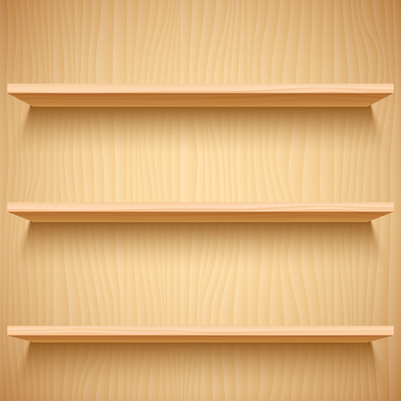 product presentation: Three empty wooden shelves. Product presentation mock-up or template