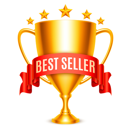 seller: Golden trophy cup with Best Seller message and five stars