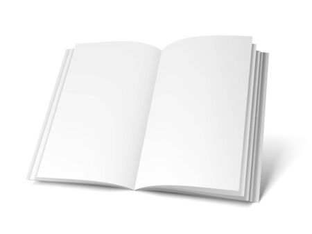 isolated object: Opened book or magazine with empty blank pages isolated on white background. White object mock-up or template