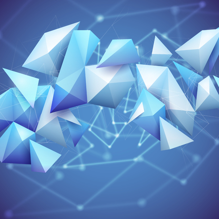 Low poly polygon mesh grid and 3d shapes on unfocused blue background