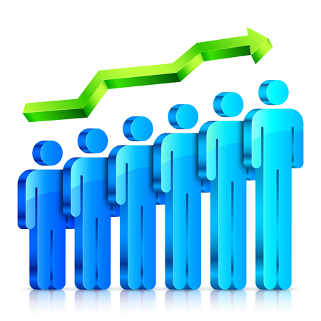 people: Blue 3d people figures with arrow. Human resource infographic