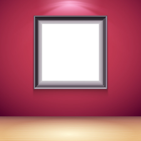 blank poster: Blank white poster on red wall in gallery interior. Poster mock-up template