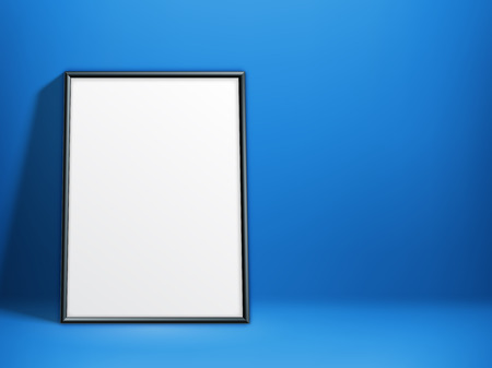 blank poster: Blank white paper poster in thin black frame on blue background. Poster mock-up template
