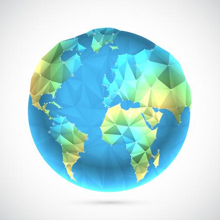globe grid: Polygonal world globe
