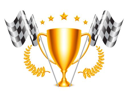 Trophy Cup and Checkered Flags